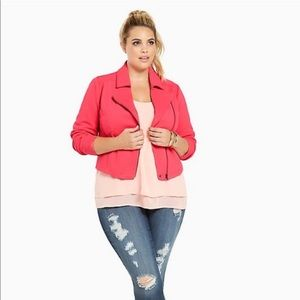 Torrid moto jacket hot pink zip up blazer
